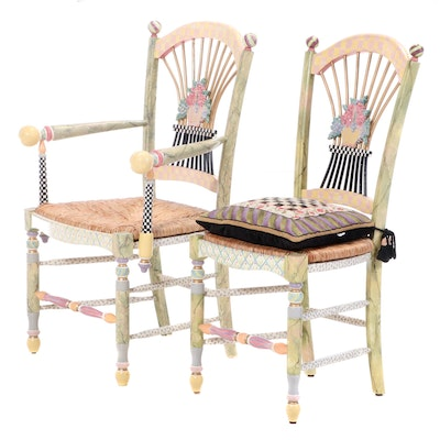 Mackenzie-Childs Paint-Decorated Matching Side Chair and Armchair