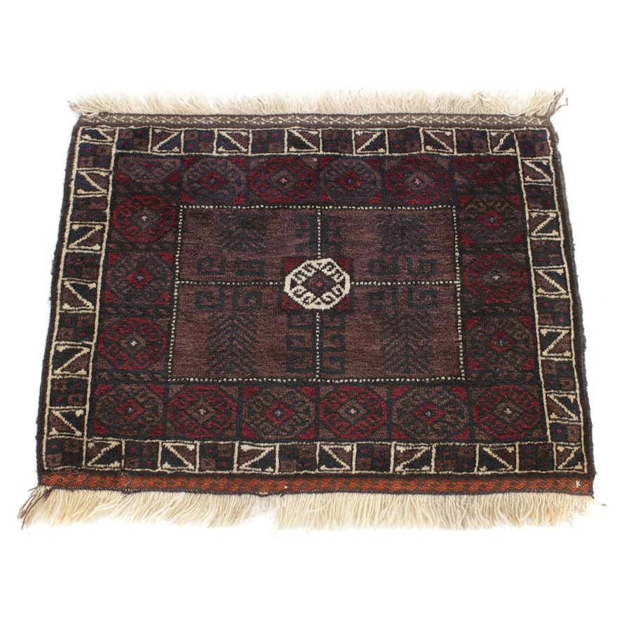 2'6 x 2'9 Hand-Knotted Persian Balouch Rug, 1950s