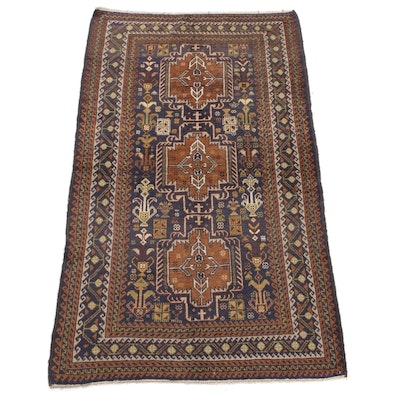"""3'10 x 8'8 Hand-Knotted Persian Balouch """"Vases of Flowers"""" Rug, 1970s"""