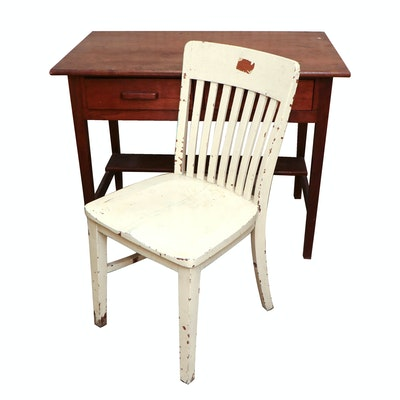 Mission Style Wood Desk and Chair,  20th Century