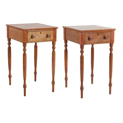 Late Federal Cherrywood One Drawer Stands, Second Quarter 19th Century