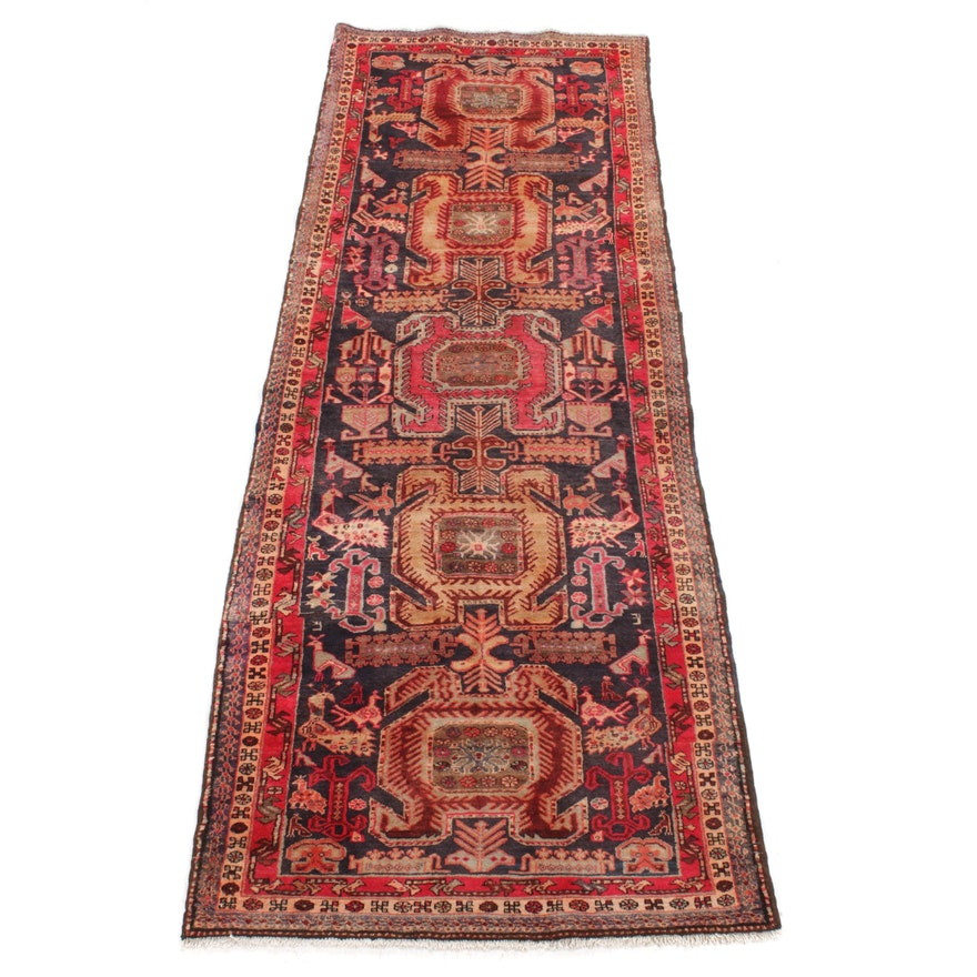 3'11 x 10'7 Hand-Knotted Northwest Persian Pictorial Rug Runner, 1960s