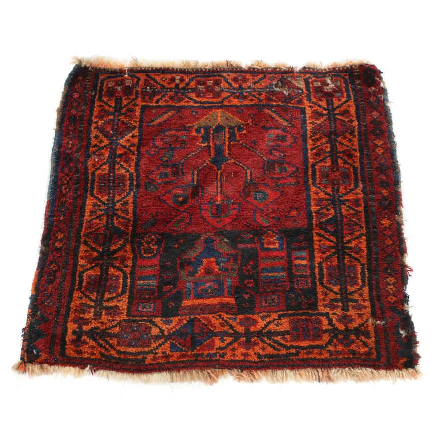 2'7 x 2'8 Hand-Knotted Persian Kurdish Rug, 1920s