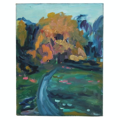 Jerald Mironov Abstract Landscape Oil Painting of Winding Path and Trees