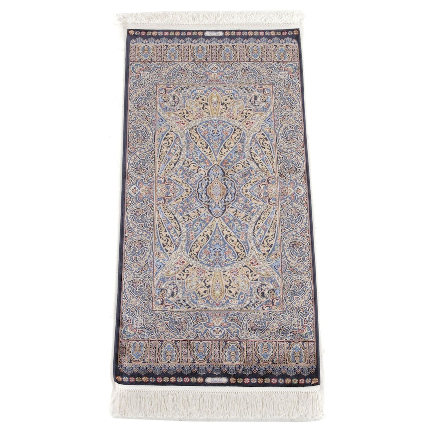 1'11 x 4'6 Hand-Knotted Turkish Bamboo Silk Rug, 2010s