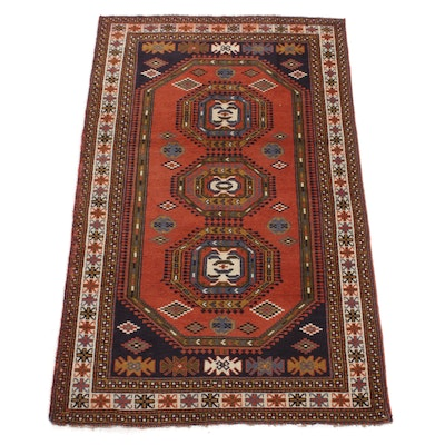 3'11 x 6'6 Hand-Knotted Persian Ghouchan Khorsan Caucasian Rug, 1970s