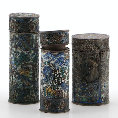 Chinese Enamel Overlay Horn Opium Boxes