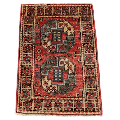2' x 3'2 Hand-Knotted Afghani Turkmen Rug, 2010s