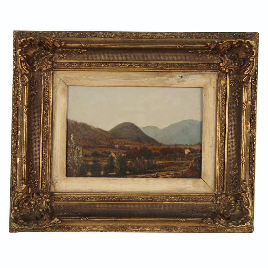 Rural Landscape Oil Painting, Early 20th Century