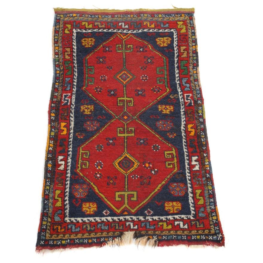 2' x 3'3 Hand-Knotted Turkish Village Rug, 1920s