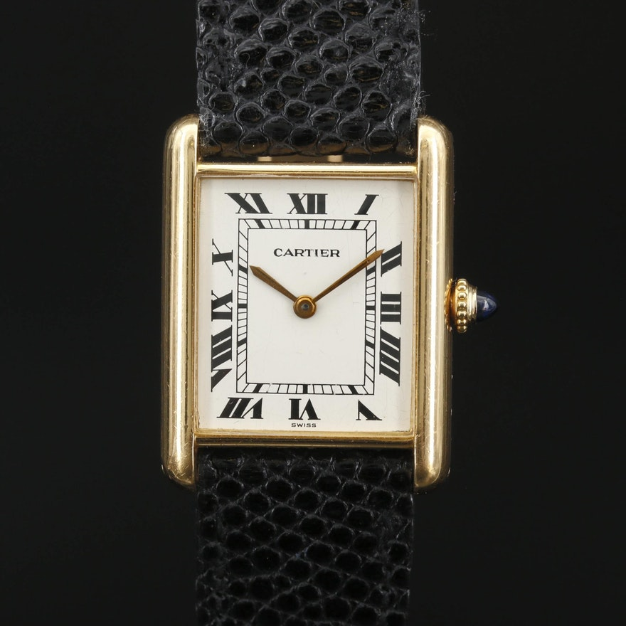 Vintage Cartier Tank Louis 18K Gold Stem Wind Wristwatch
