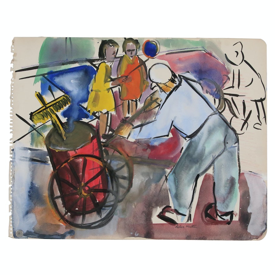 Helen Malta Abstract Watercolor Painting with Figures, circa 1940
