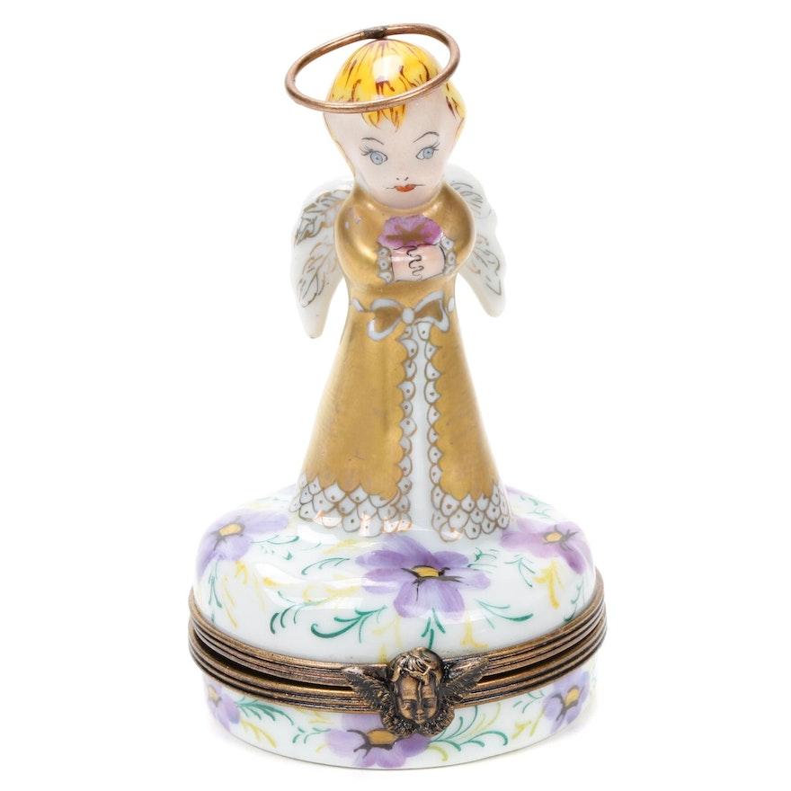 La Gloriette Hand-Painted Angel Child Porcelain Limoges Box