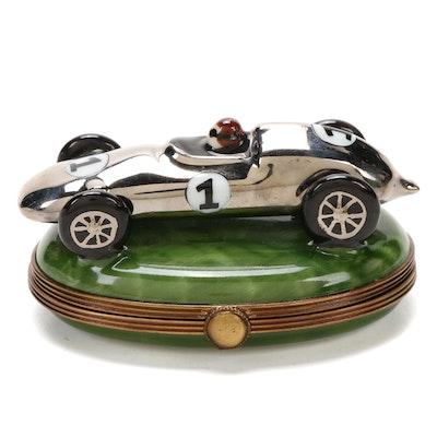 La Gloriette Hand-Painted Formula One Race Car Form Limoges Box