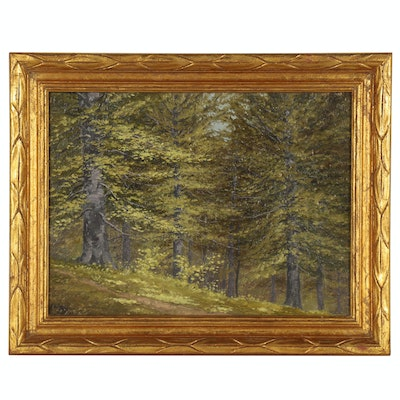 August Goeser Oil Painting of Forest Landscape, 1904