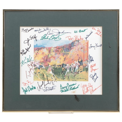 Leroy Neiman Football Print with Autographs, Framed