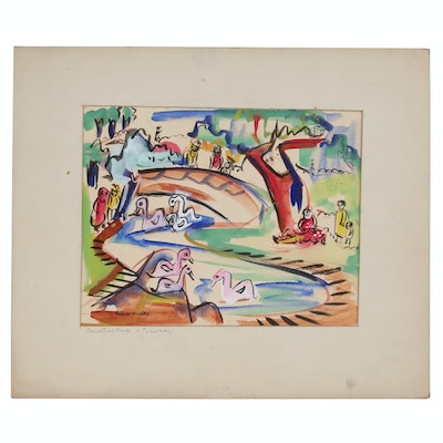"Helen Malta Abstract Cityscape Watercolor ""Central Park,"" circa 1940"