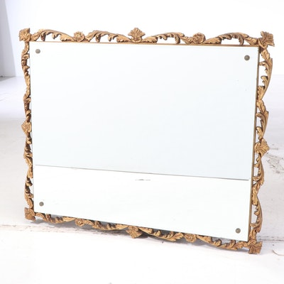 Rococo Style Floral Giltwood and Gesso Wall Mirror, Early to Mid 20th Century