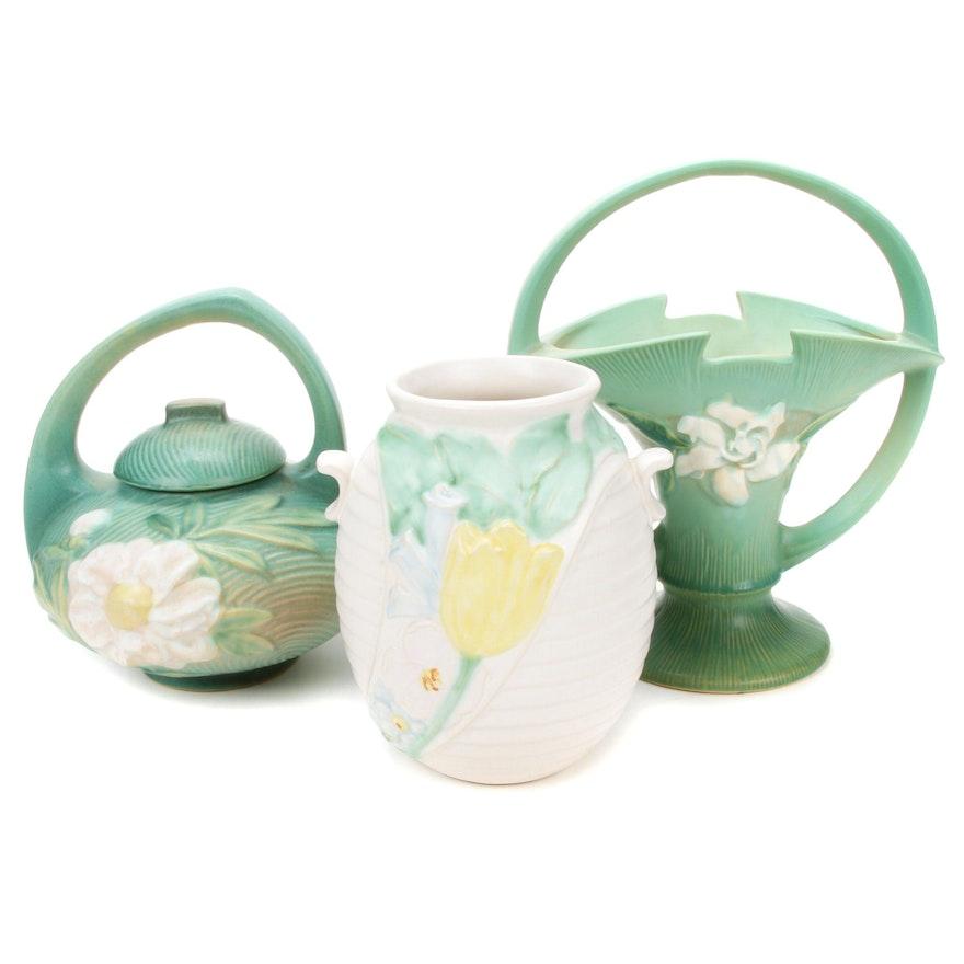 Roseville Gardenia Vase, Weller Mi-Flo Vase, Roseville Teapot Early-Mid 20th C.