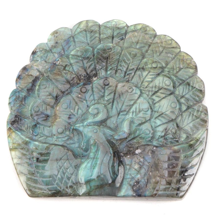 Carved Labradorite Peacock