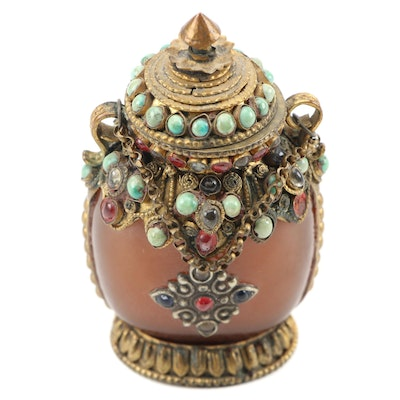 Nepalese Ornate Inlaid Glass Snuff Bottle