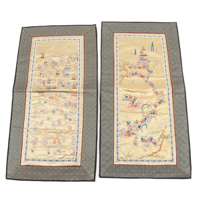 """Chinese Embroidered Silk Panels, Including """"Hundred Boys Motif"""