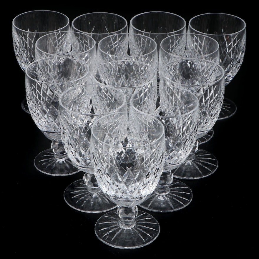 """Waterford Crystal """"Boyne"""" Water Goblets, Mid to Late 20th Century"""