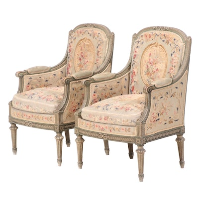 Pair of Louis XVI Style Green-Painted and Needlepoint-Upholstered Bergères