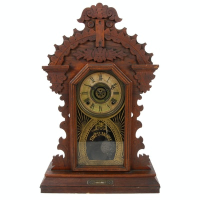 E. Ingraham Gingerbread Oak Clock, Late 19th Century