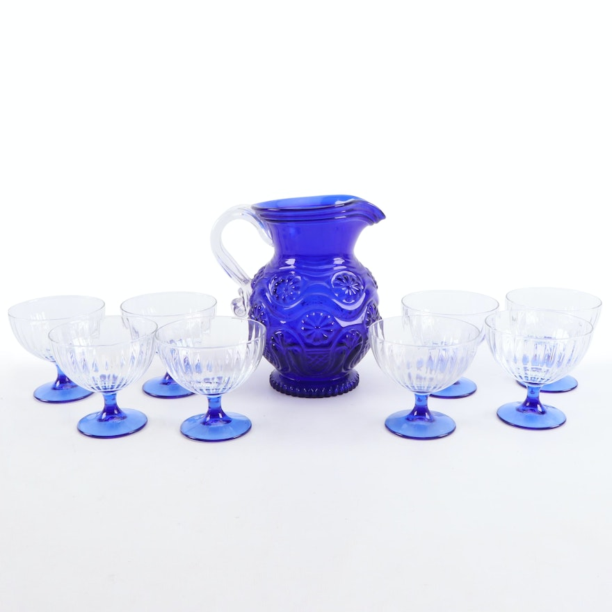 Italian Blue Glass Pitcher and Stemware, Late 20th Century