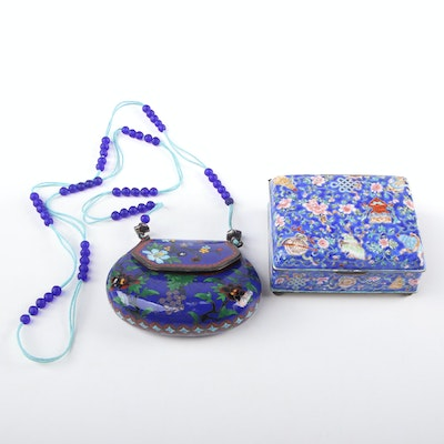 Chinese Cloisonné Coin Purse and Enameled Box, Mid-20th Century