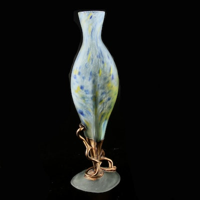 Signed Frosted Art Glass Vase with Bronze Sculptural Accents