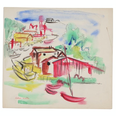 Helen Malta Nautical Watercolor Scene, Mid 20th Century