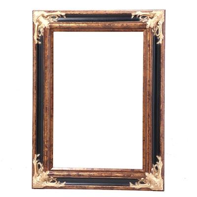 Ebonized and Parcel-Gilt Overmantel Mirror