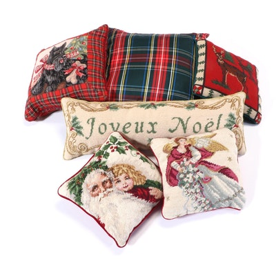 Christmas Needlepoint Decorative Pillows with Other Seasonal Pillows