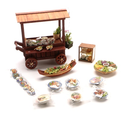 Miniature Wooden Asian Food Cart with Miniature Dishes and More