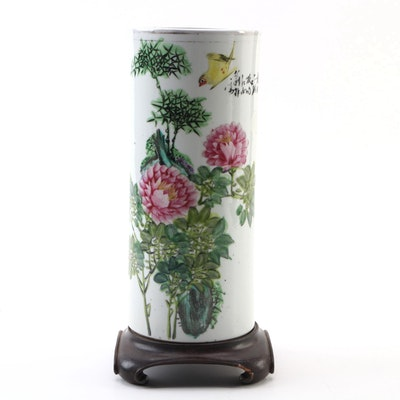 Chinese Bird and Floral Motif Porcelain Vase with Wood Base