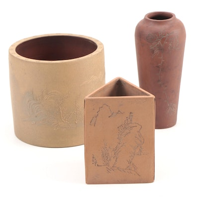 Chinese Yixing Ceramic Brush Pots and Vase, Mid-20th Century