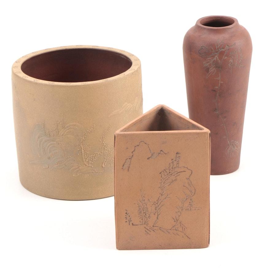 Chinese Yixing Ceramic Brush Pots and Vase, Mid-20th Century