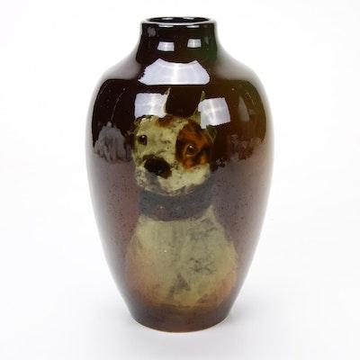 Weller Louwelsa Pitbull Dog Portrait Faïence Vase, 1896-1924