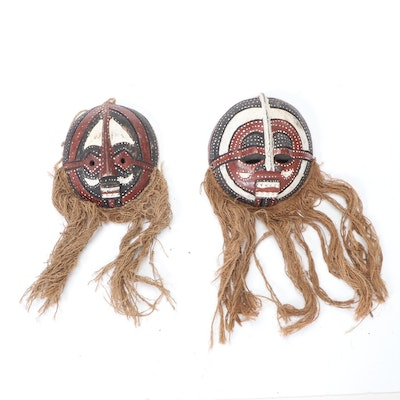 Luba Carved Wood Polychrome Masks, Democratic Republic of the Congo