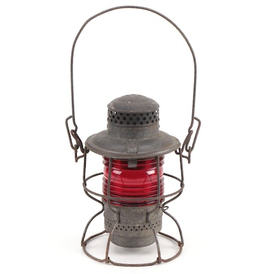 Adlake Baltimore and Ohio Railroad Lantern with Red Globe, Early 20th Century