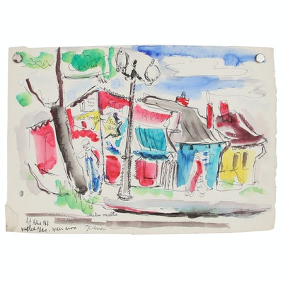 Helen Malta Abstract Watercolor Painting of Street Scene