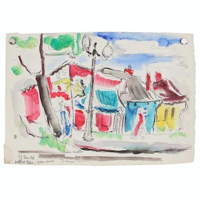 Helen Malta Abstract Watercolor Painting of Street Scene