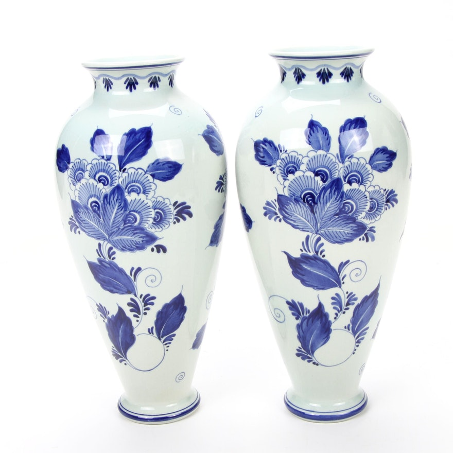 Pair of Dutch Hand-Painted Floral Motif Delft Vases, Mid to Late 20th Century