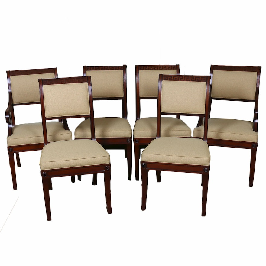Baker Mahogany Greek Key Motif Dining Chairs, Late 20th Century