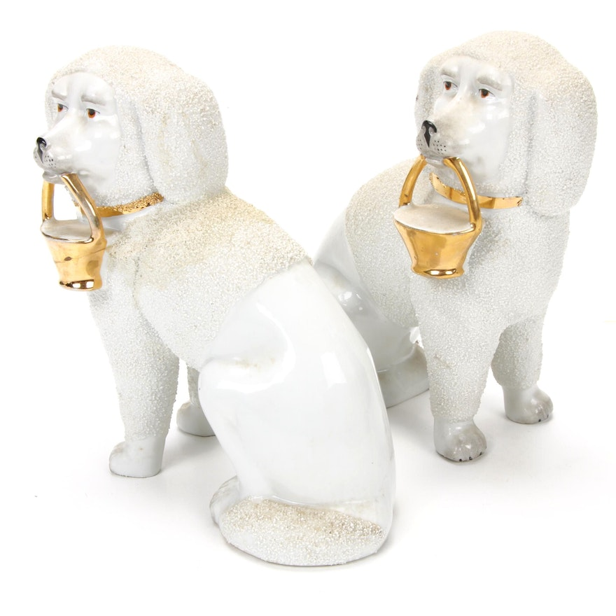 Pair of Staffordshire Style Porcelain Poodle Figurines, Mid to Late 20th Century