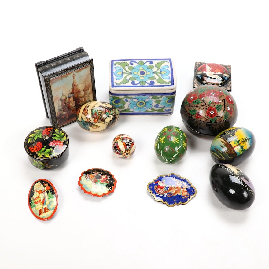Russian and Other Trinket Boxes, Pins, and Eggs