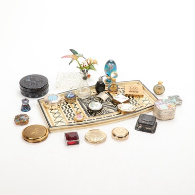 Sterling Silver Cloisonne Snuff Box and Other Boxes on a Tray