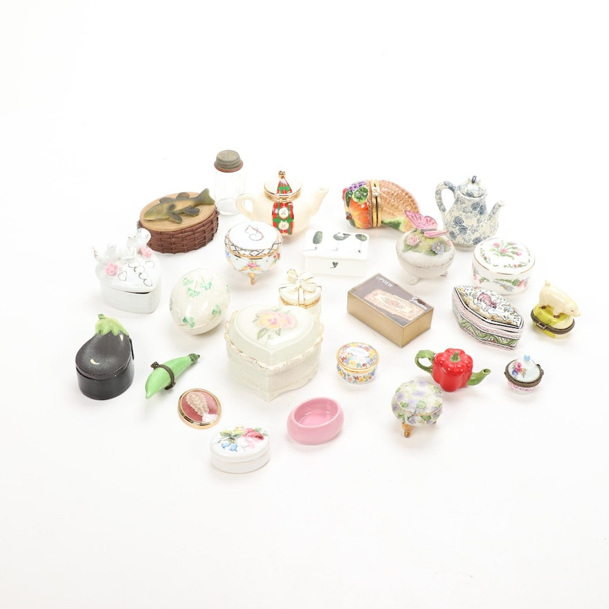 Belleek, Hammersley and Other Porcelain and Ceramic Boxes and Decor